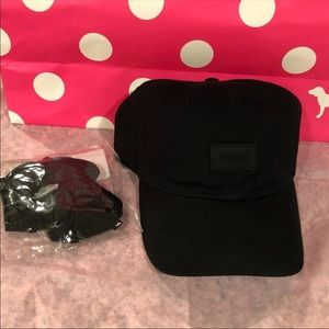 NWT VS  Pink Baseball HAT/SCRUNCHIE Bundle